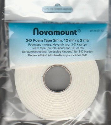 Novamount Foamtape 2 mtr lang, 12mm breed en 2 mm dik