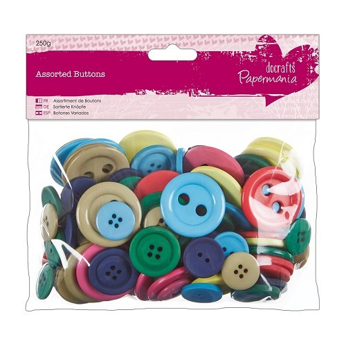Assorted Buttons 250g - Brights