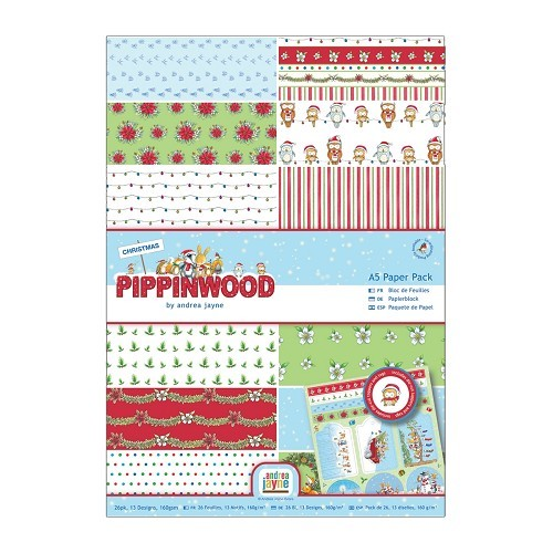 Paper Pack Linen A5 (26pk) - Pippinwood Christmas