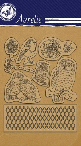 Aurelie clear stempel set A5 Winter Owls