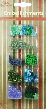 Embellishments Christmas Green and Blue