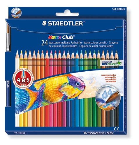 Noris Club aquarell - set 24 st + penseel