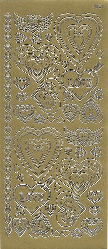 Stickervel Hartjes Love Goud