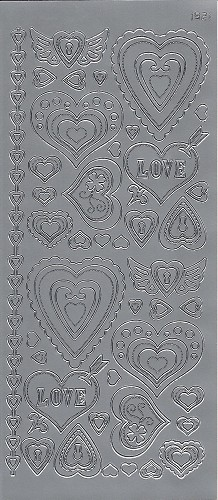 Stickervel Hartjes Love Zilver
