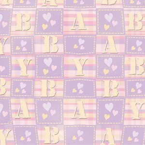 Paperpack 24 vel 30,5x30,5cm Baby Hearts Embossed Lavender