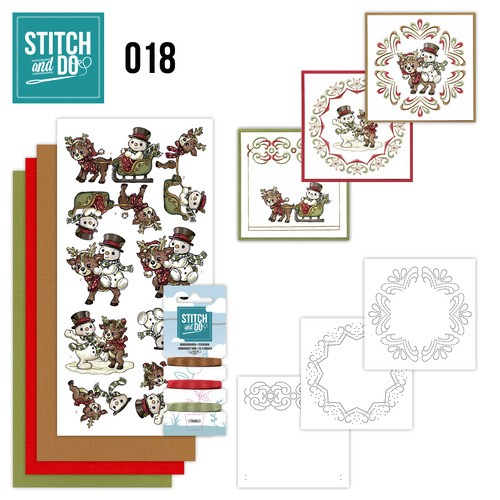 Borduurpakketje Stitch & Do 18 - Snowman and Reindeer