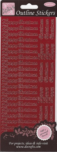 Docrafts Stickervel Happy Christmas Red
