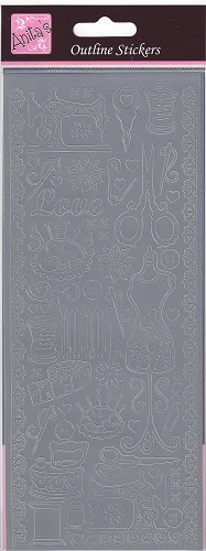 Docrafts Stickervel Sew Retro Mat Silver