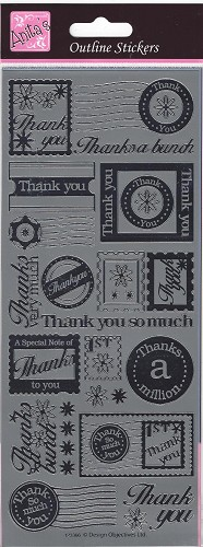 Docrafts Stickervel Thank you Silver