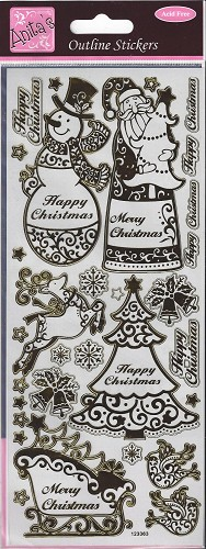 Docrafts Stickervel Merry Christmas Gold Transparant