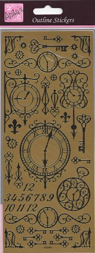 Docrafts Stickervel Clocks and Keys Goud