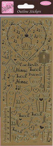 Docrafts Stickervel Birds of a Feather Goud
