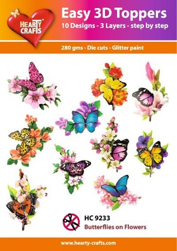 Easy 3D Toppers Butterflies on Flowers