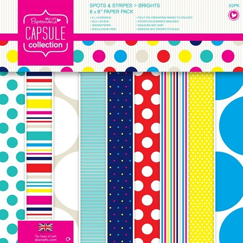 Paper Pack 20,3x20,3cm Spots & Stripes Brights