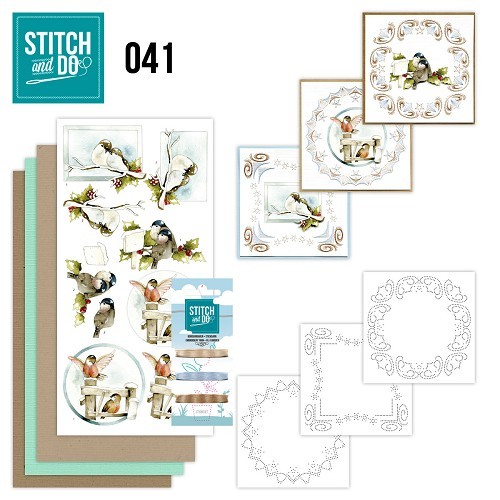Borduurpakketje Stitch and Do 41 - Kerstvogeltjes