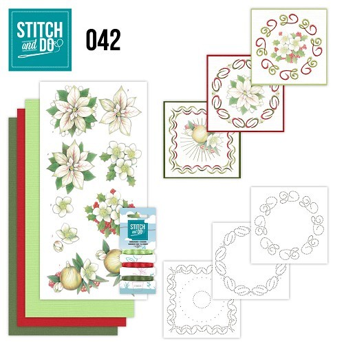 Borduurpakketje Stitch and Do 42 - White Christmas Flowers