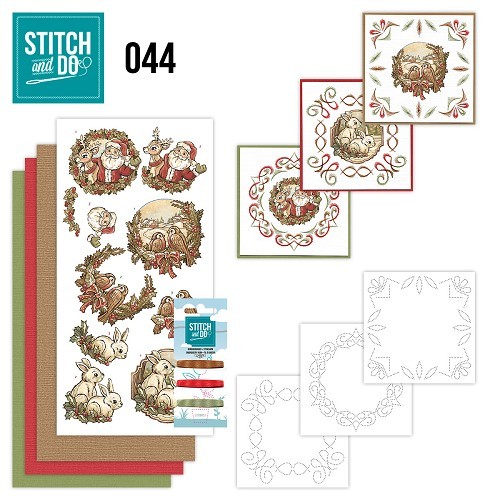 Borduurpakketje Stitch and Do 44- Holly Jolly mix