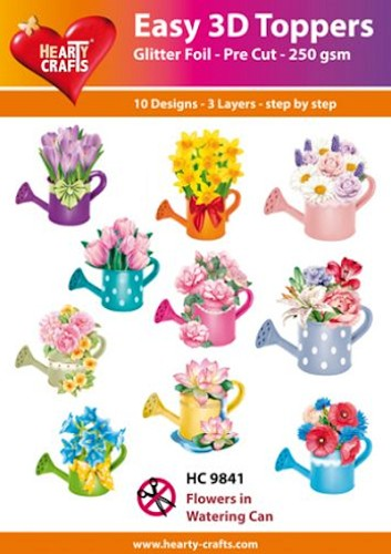 Easy 3D Toppers Flowers in Watering Can