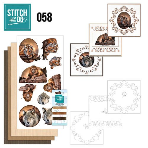 Borduurpakketje Stitch and Do 58 - Wild Animals