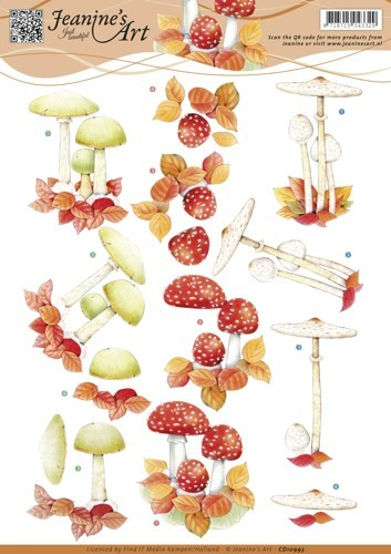 Jeanines Art knipvel A4 Autumn mushrooms