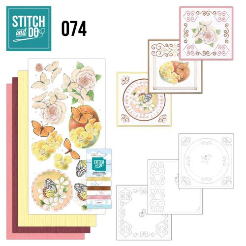 Borduurpakketje Stitch and Do 74 - Vlinders en Bloemen