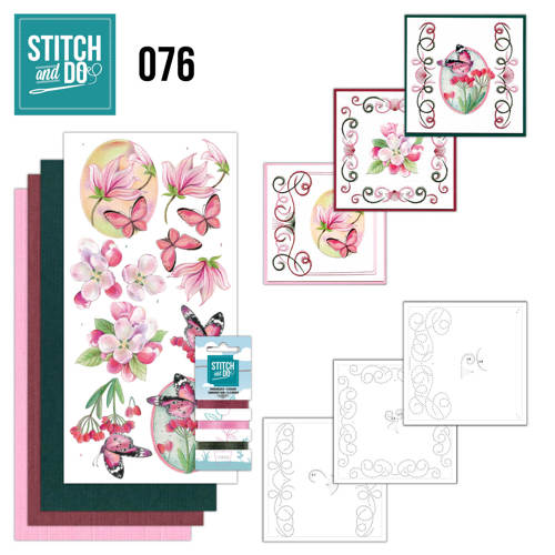 Borduurpakketje Stitch and Do 76 - Pink Flowers