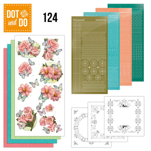 Dot and Do 124 - Pink flowers and butterflies