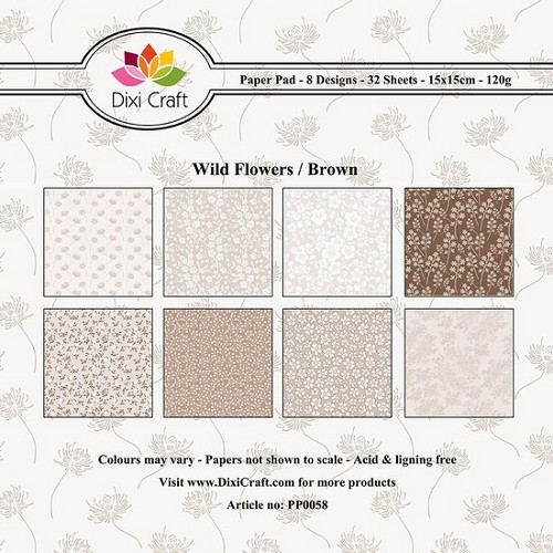 Dixi paper pad 15x15cm Wild Flowers Brown