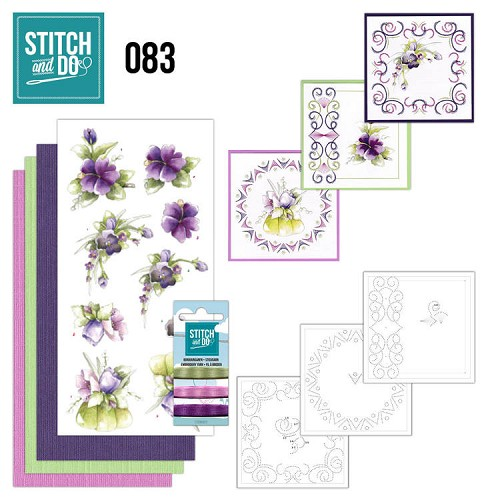 Borduurpakketje Stitch and Do 83 - Purple Flowers