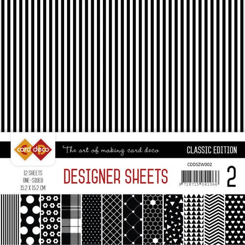 Card Deco - Designer Sheets 15,2x15,2cm - Classic Edition- zwart-wit