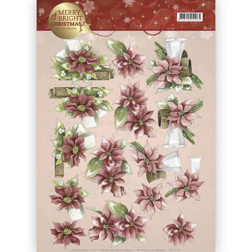 Marieke Design knipvel A4 - Merry and Bright Christmas - Poinsettia in red