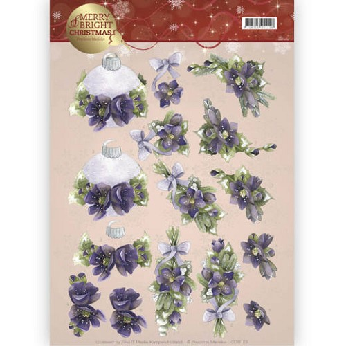 Marieke Design knipvel A4 - Merry and Bright Christmas - Bouquets in purple