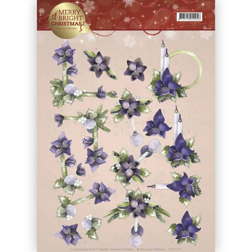 Marieke Design knipvel A4 - Merry and Bright Christmas - Amaryllis in purple