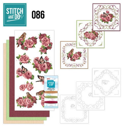Borduurpakketje Stitch and Do 86 - Birds and Roses
