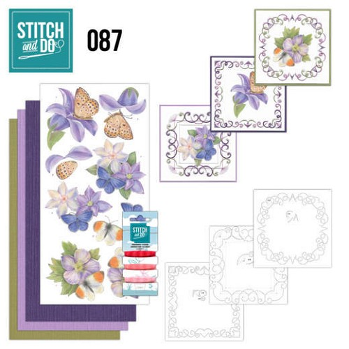 Borduurpakketje Stitch and Do 87 - Purple Flowers