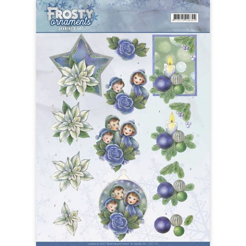 Jeanines Art knipvel A4 Frosty Ornaments - Blue Ornaments