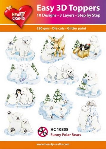 Easy 3D Toppers Funny Polar Bears