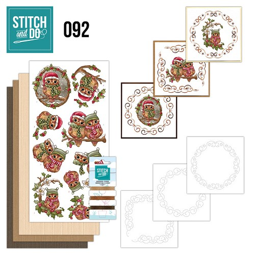 Borduurpakketje Stitch and Do 92 - Christmas Owls