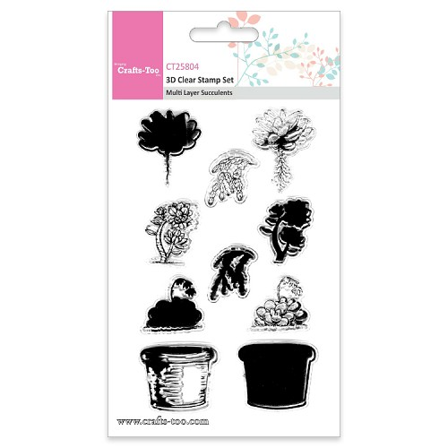 Crafts Too 3D Clearstamp Set - Multi Layer Succulents (10pcs)