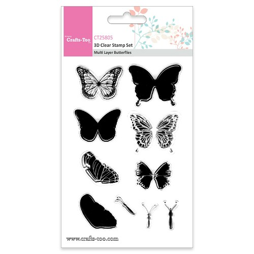 Crafts Too 3D Clearstamp Set - Multi Layer Butterflies (10pcs)