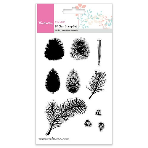 Crafts Too 3D Clearstamp Set - Multi Layer Pine Branch (10pcs)