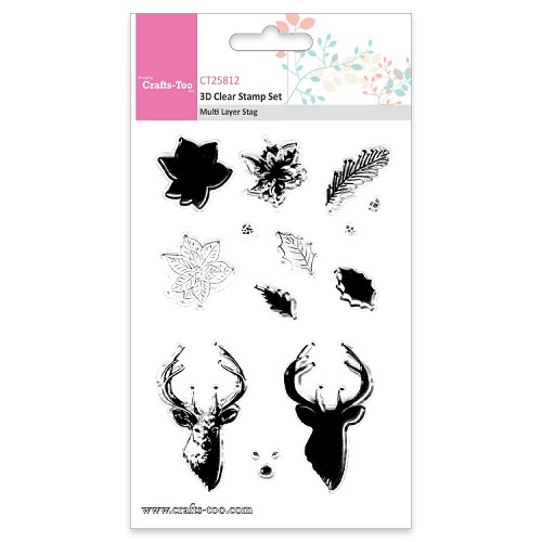 Crafts Too 3D Clearstamp Set - Multi Layer Stag (13pcs)