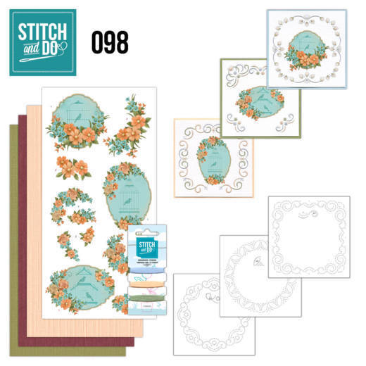 Borduurpakketje Stitch and Do 98 - Floral Birdcages