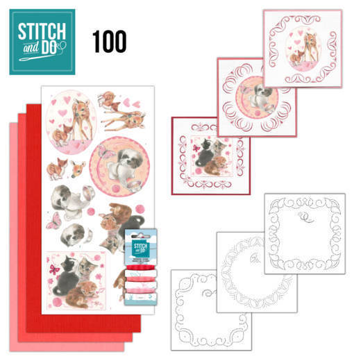 Borduurpakketje Stitch and Do 100 - Playful Pets