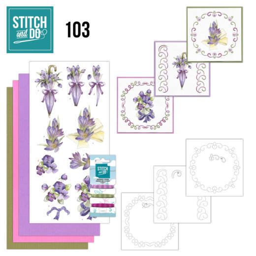 Borduurpakketje Stitch and Do 103 - Flowers in Purple