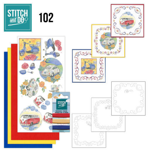 Borduurpakketje Stitch and Do 102 - Oldtimers