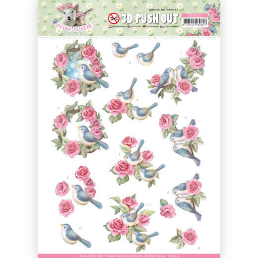 3D Pushout - Amy Design - Spring is Here - Birds and Roses