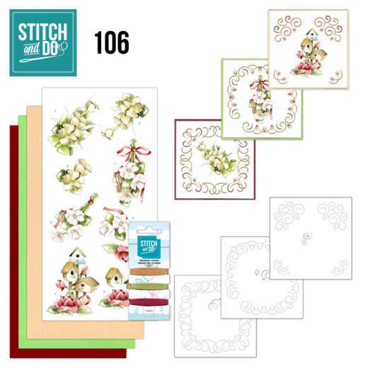 Borduurpakketje Stitch and Do 106 - Pink Spring Flowers