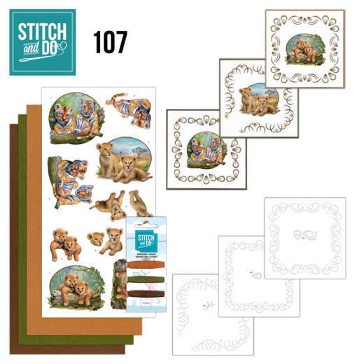 Borduurpakketje Stitch and Do 107 - Wild Animals