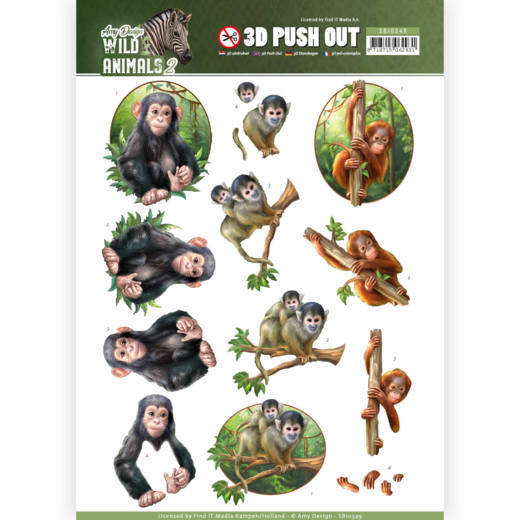 3D Pushout - Amy Design - Wild Animals - Monkeys
